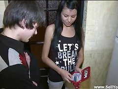 Marvelous legal age teenager angel stands doggy fashion offering this impressive dude to fuck her cookie hard from the behind.