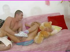 Brianna is home alone playing with her teddy bear when this chick is finally approached by her stud. This Man goes down on her cum-hole and laps up every drop of her soaked cookie and then this dude fucks her snatch aperture with a purple sex-toy. That Man fingers her taut little chocolate aperture as this dude stretches the muscle. This Honey takes a double penetration of the marital-device and his fingers in her holes. BriannaтАЩs gazoo is worthwhile and taut and heтАЩs doing his almost all fine to stretch it for his ramrod as this chab fingers her and stretches her muscle. Then little Brianna takes him in her throat as heтАЩs still trying to stretch her open for his shlong. That Man fucks her cum-hole for several minutes and then begins the task of putting the tip of his weenie her a-hole in as that chick squirms. Finally that chick sucks him off on the daybed as that dude cums in her mouth.