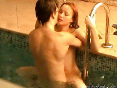 Check out this nasty redhead legal age teenager going slender dipping with one of her male allies. This Hottie thinks that it`s just the 2 of 'em and that that honey can do soever that honey craves out of anyone else ever finding out, but secretly outside the pool, is a voyeur photographer. That Guy`s filming through the window, looking in at the indoor pool and these 2 legal age teenagers getting very wicked. And it`s not long in advance of they`re doing a lot greater amount than just slender dipping. Beautiful Pretty soon this legal age teenager mounts her lover right in the pool. It doesn`t stop there either!