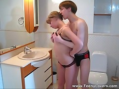 This teeny is one hawt little thing and her cum-hole is always juicy and willing to take a firm hirsute shlong deep inside. Her apartment is a crowded place tonight and this sweetheart pulls this hawt man away from the guests to receive down and ribald right in a diminutive bath. Fucking on a sink and even on a crap-house pan makes her cum so hard that her groans of fun are heard all over the place. What a loud slut!